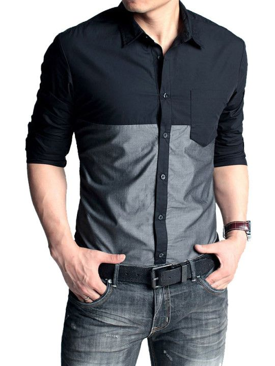 Black Silver Contrast Casual Shirt Trend In 2019 Pinterest