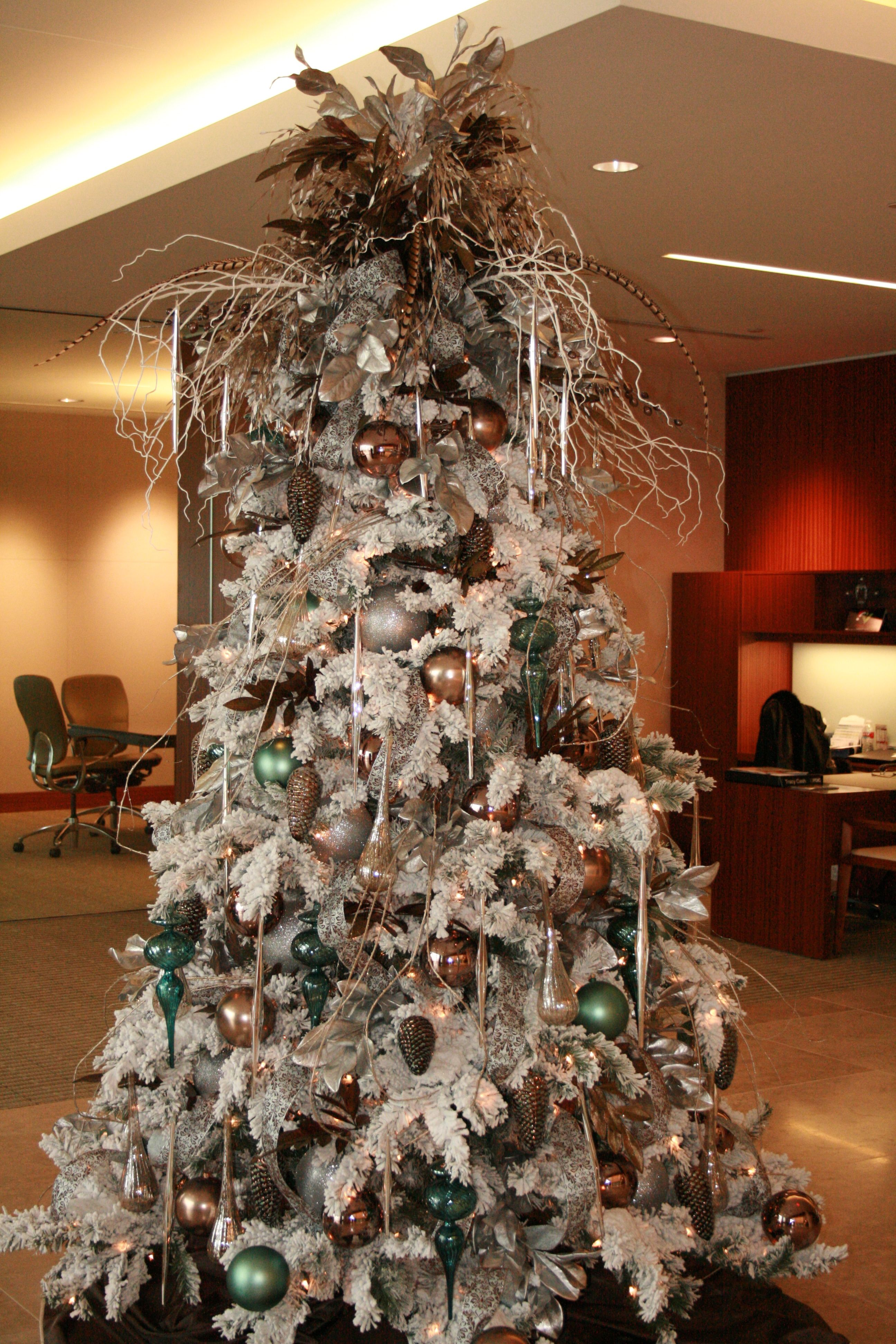 Flock Tree I Decorated For A Bank Christmas Charm