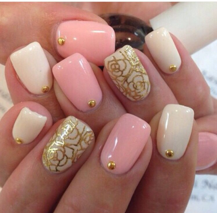 Pink white gold stamps awesome nails pinterest pink white pink white and gold rose nail design prinsesfo Choice Image