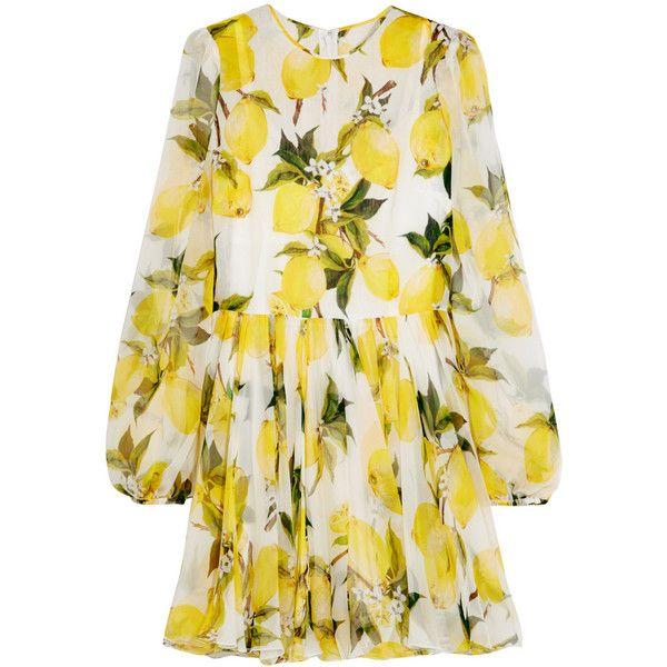 aa02813208b2 Dolce & Gabbana Printed silk-chiffon mini dress (188,570 INR) ❤ liked on  Polyvore featuring dresses, yellow, multi colored dress, multicolored dress,  ...