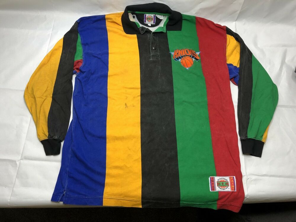 the latest c889a 260fa New York Knicks Shirt Vintage 90s In the Paint Collar Polo Color Block NBA  Large  NewYorkKnicks