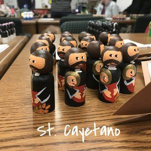 St. Cayetano - The Great Peg Doll Exchange of 2016: Over 30 Peg Doll Saints - with photos of each saint & tips for hosting your own exchange!
