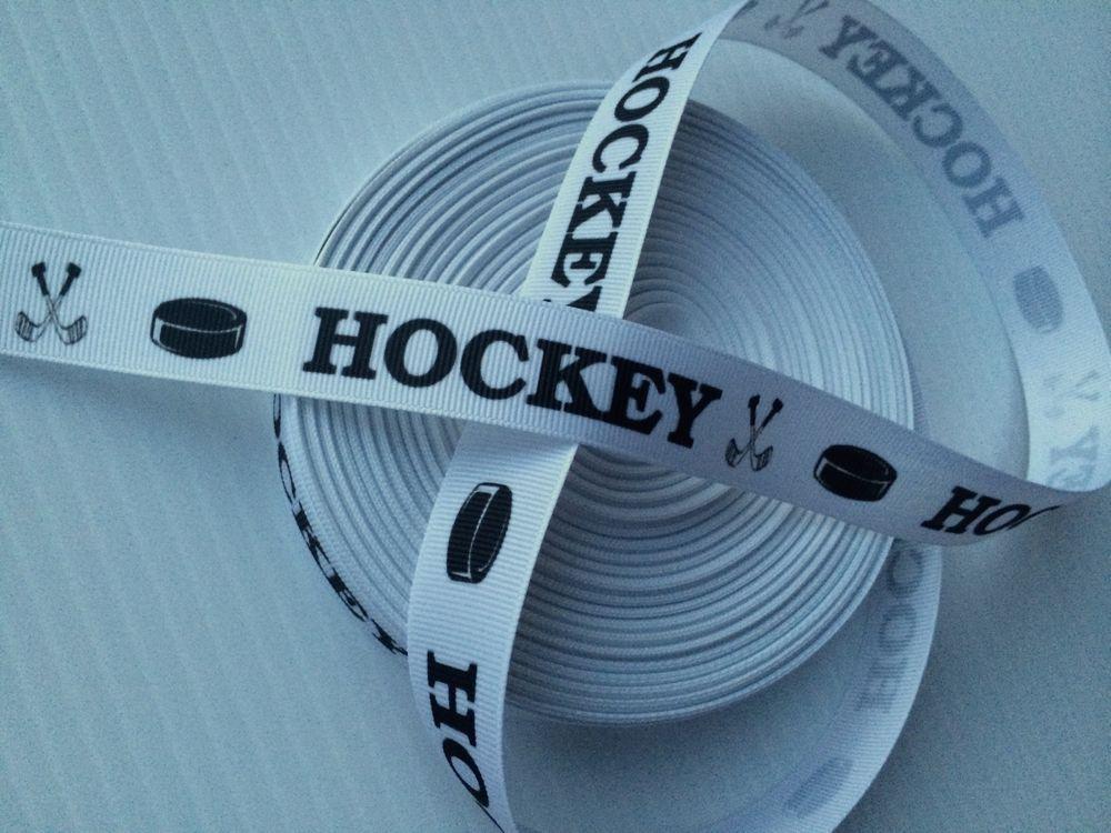 "7/8"" ICE HOCKEY Pucks Sticks Sports TEAM Grosgrain Hair RIBBON Rinkrat"