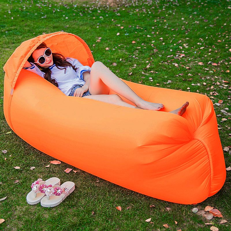 IPRee™ Upgraded Version Outdoor Travel Lazy Sofa Fast Air Inflatable Ship-Shaped Sleeping Bed Lounger Camping Beach Lay Bag Recliner With Sunshade Cap