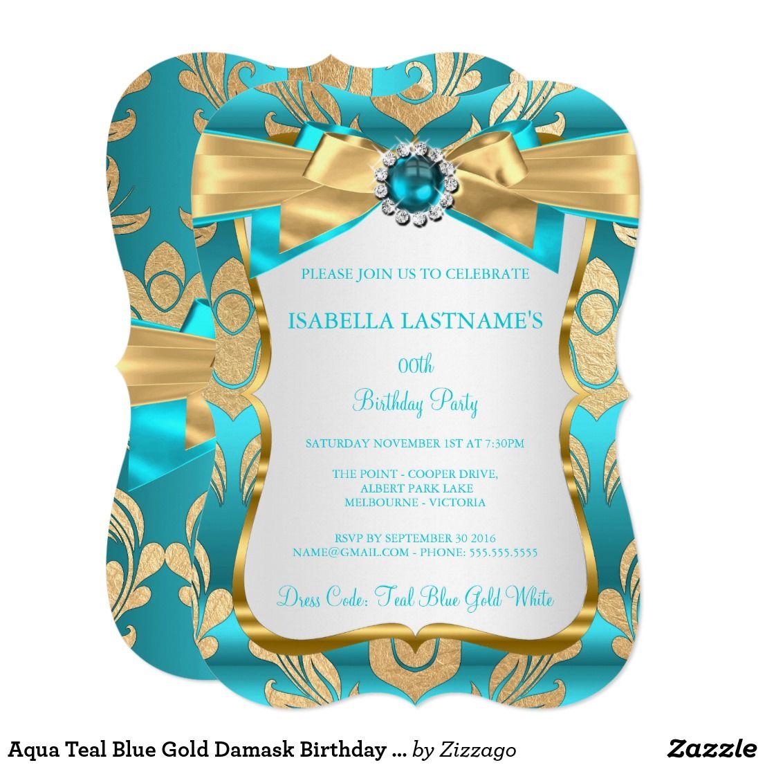 Aqua Teal Blue Gold Damask Birthday Party Invite | Birthdays and ...