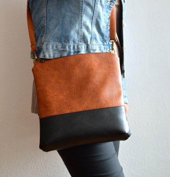 Colorblock Crossbody Bag Handmade Shoulder Vegan Leather
