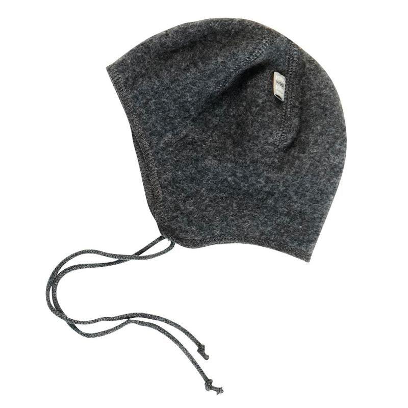 e7d67a54ca7 Baby hue i lækker filtet uld Joha mørkegrå melange hjem med bindebånd