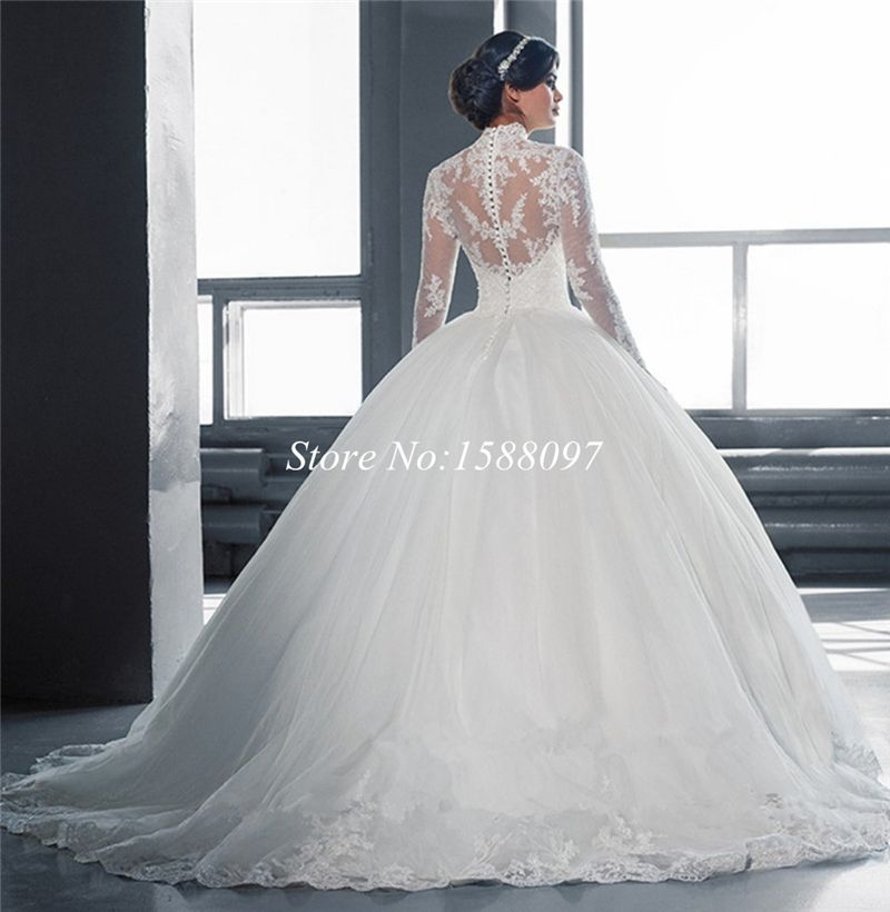 Beautiful White Ball Gown Wedding Dress Lace Sheer Neckline Long ...