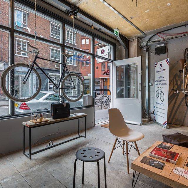Our shop is still nice and dry inside, come on in, get out of the rain and talk to us about bikes! || #fixationlondon #backonthebike