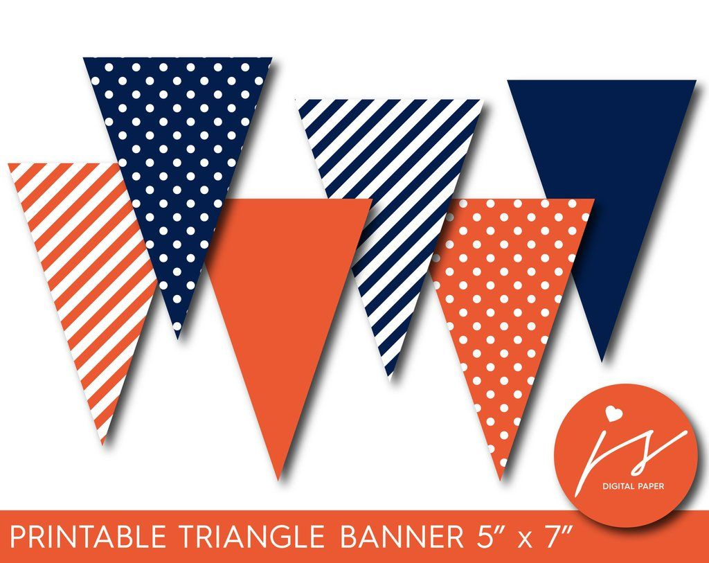 Orange And Navy Blue Pennant Banner With Polka Dots And Stripes Pb