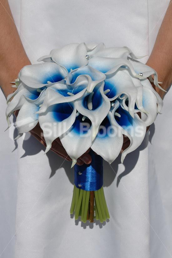 Artificial bridal wedding bouquet with blue centred white for White and blue flower bouquet