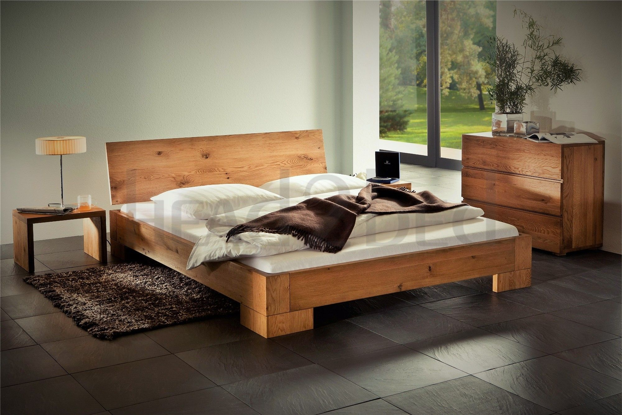 Natural Oak Oiled Solid Wooden Bed Homemade bed frame