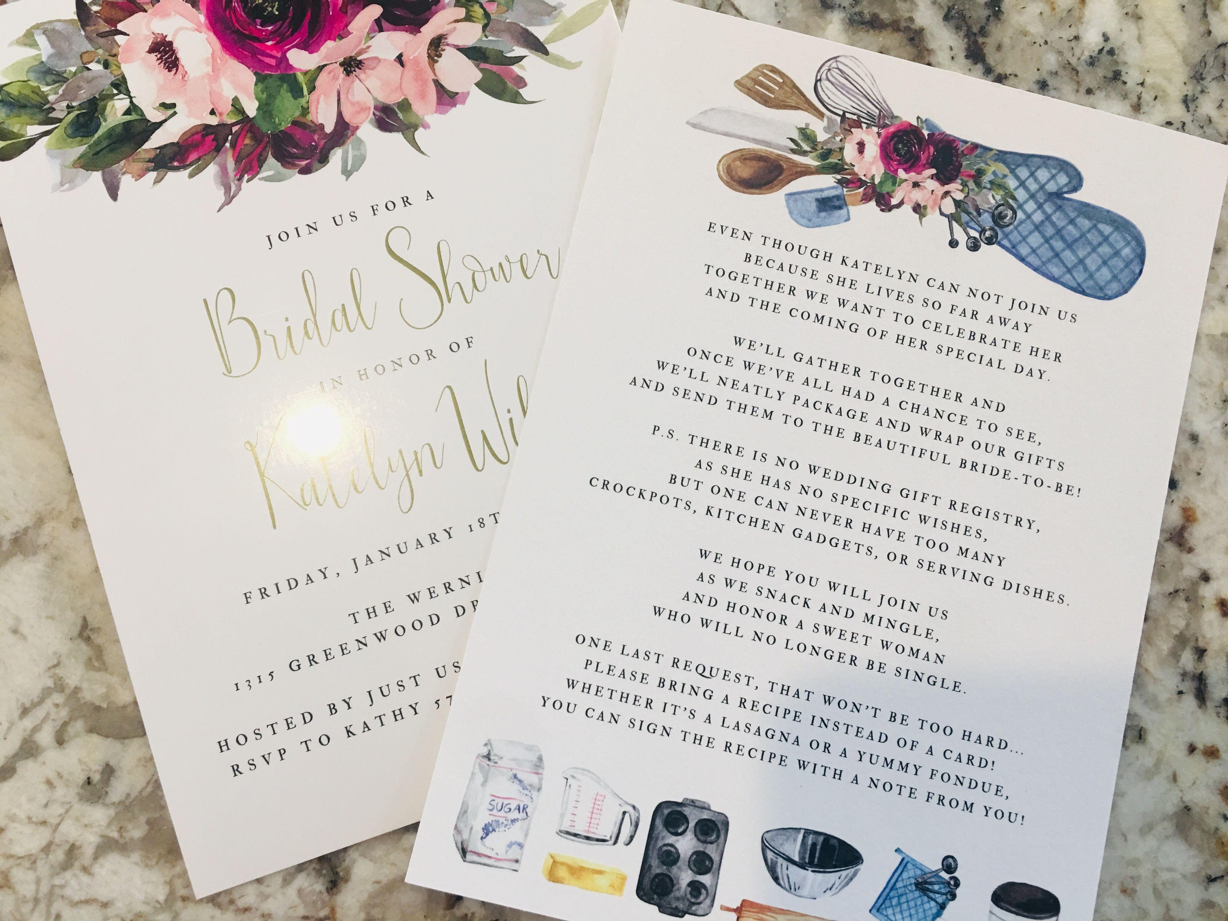 Long Distance Bridal Shower Bridal Shower Bridal Shower Recipes Cards Wedding Shower Invitations
