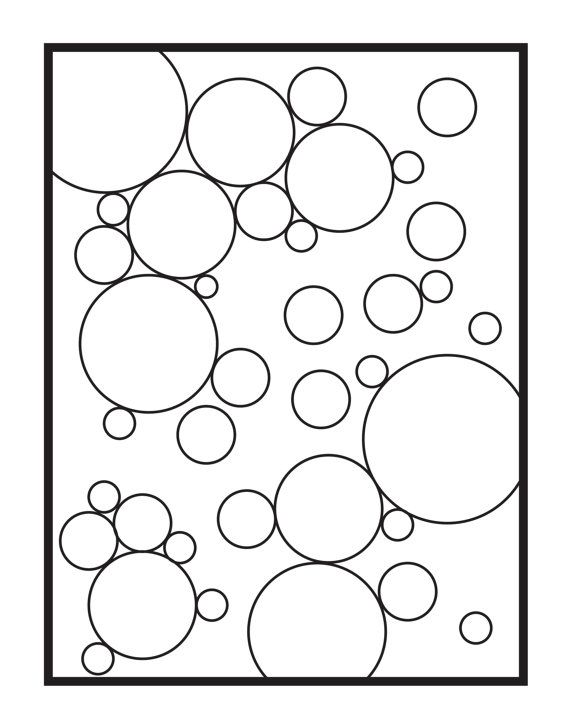 Abstract Bubbles Single Coloring Page Digital Download In 2019