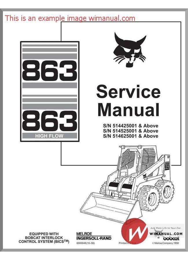 bobcat 863 skid steer loader service repair workshop pdf download rh pinterest com