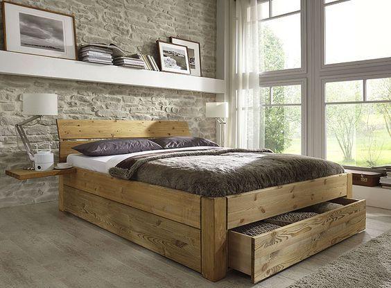 Bett mit Schubladen aus Massivholz Kiefermöbel als Einzelbett - schlafzimmer mit bettüberbau