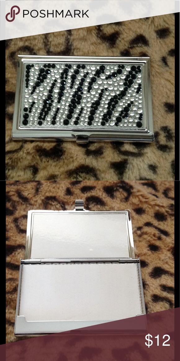 Zebra rhinestone business card case new business card case card zebra rhinestone business card case new colourmoves Image collections