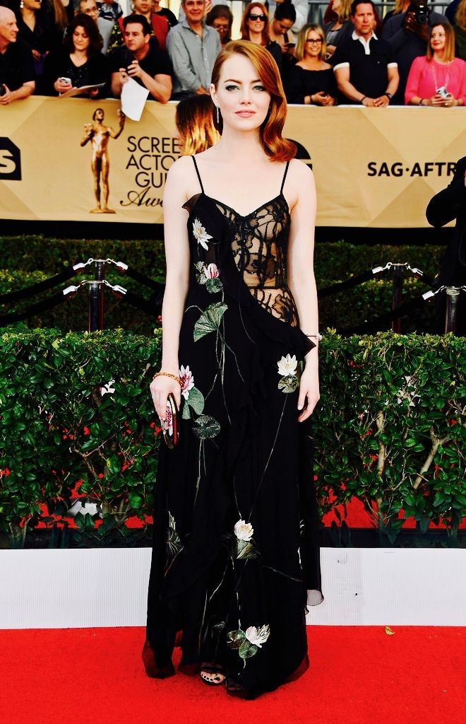 Emma Stonein Alexander McQueen at the 2017 SAG Awards in Alexander McQueen.