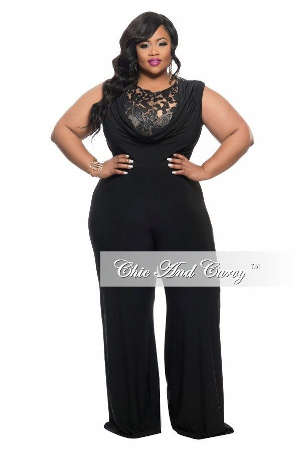aa8f958ce6a Final Sale Plus Size Jumpsuit with Sequin Detailed Top in Black ...