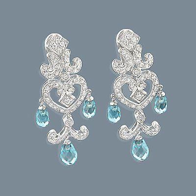 14k Diamond Chandelier Earrings Blue Topaz 0 55ct