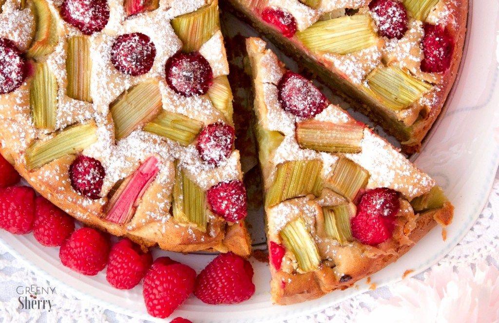 Veganer Rhabarber Himbeer Marzipan Kuchen Wie Bei Grossmuttern Lebensmittel Essen Vegane Rezepte Und Rezepte
