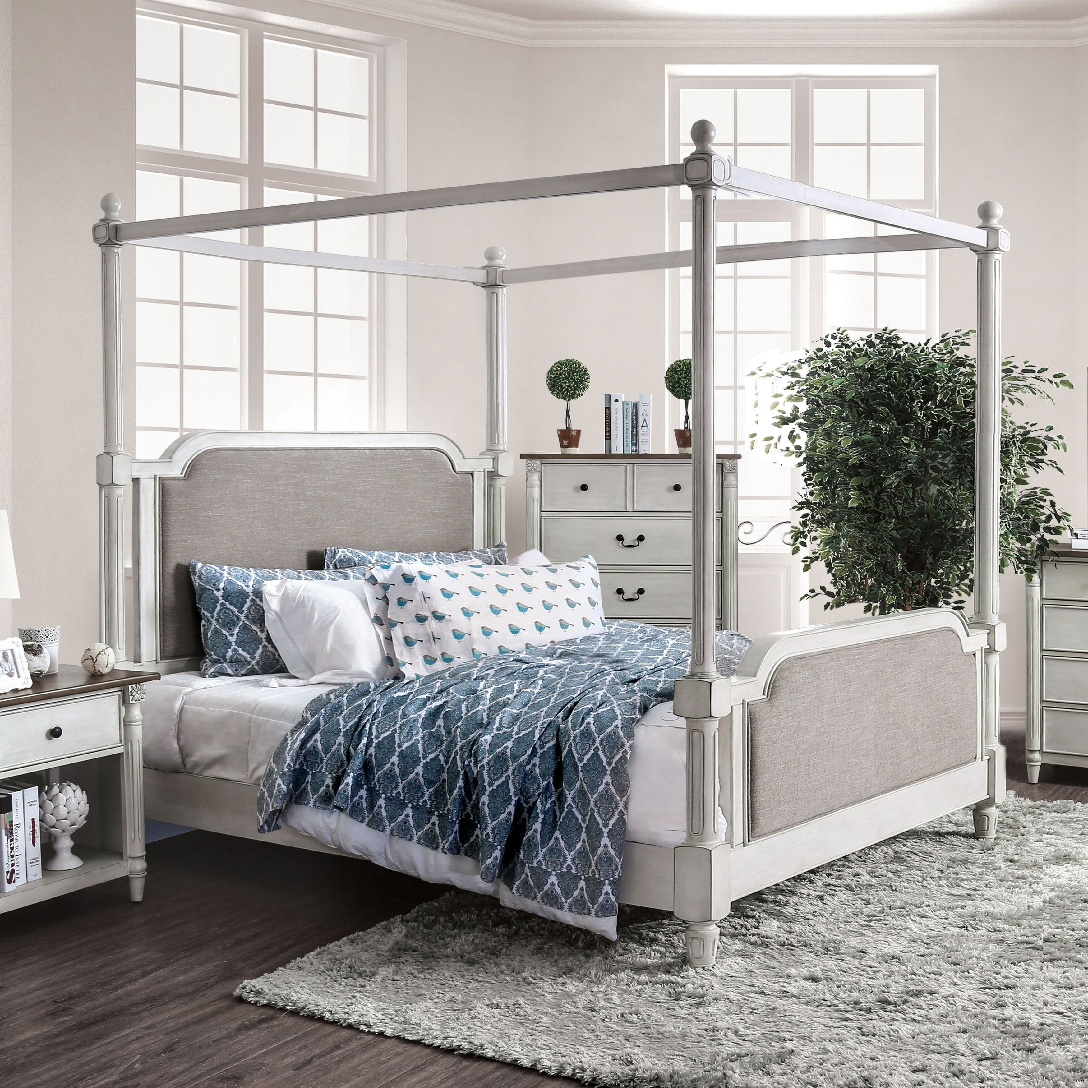 Best Nyema Traditional Antique White Canopy Bed By Foa 400 x 300