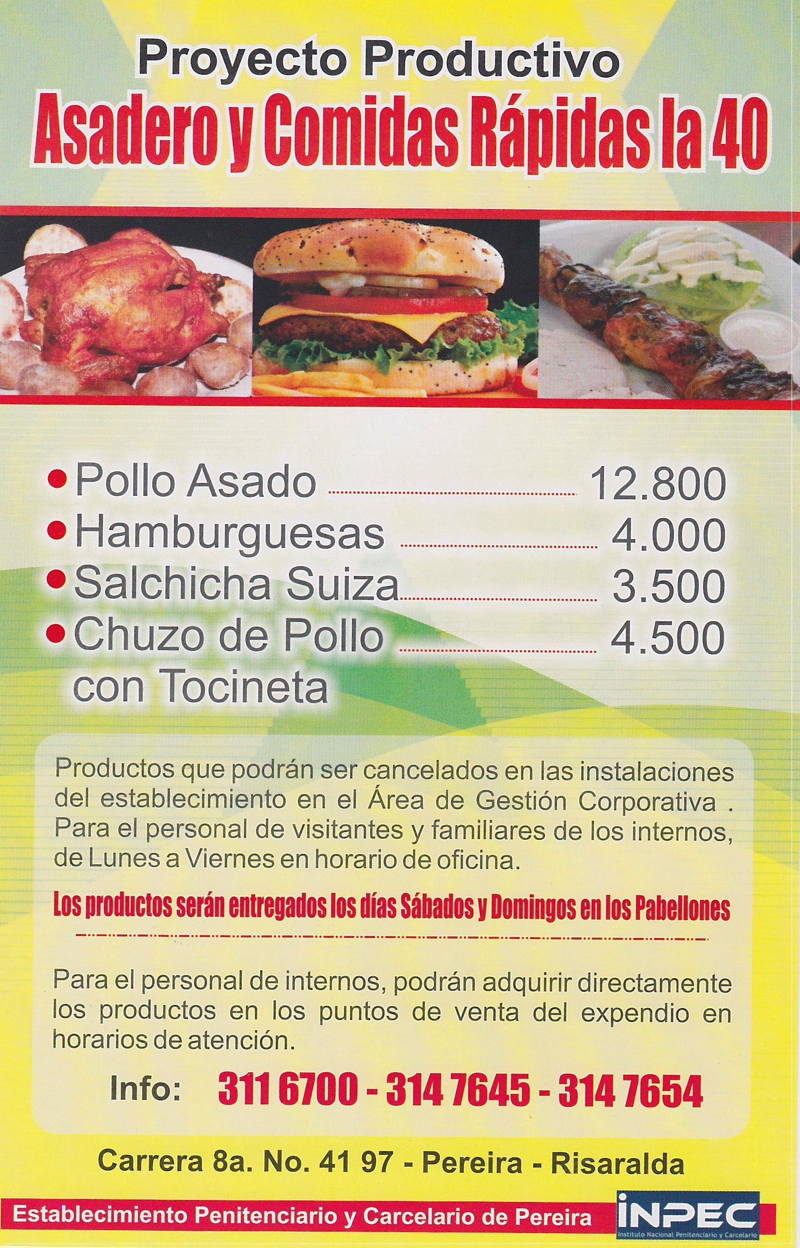 Ad For Food To Order For Inmates Pereira Colombia Realia In