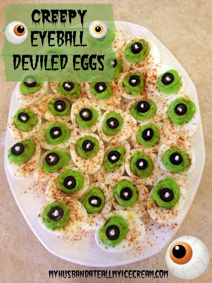 Spooky Deviled Egg Eyeballs Halloweenie Halloween