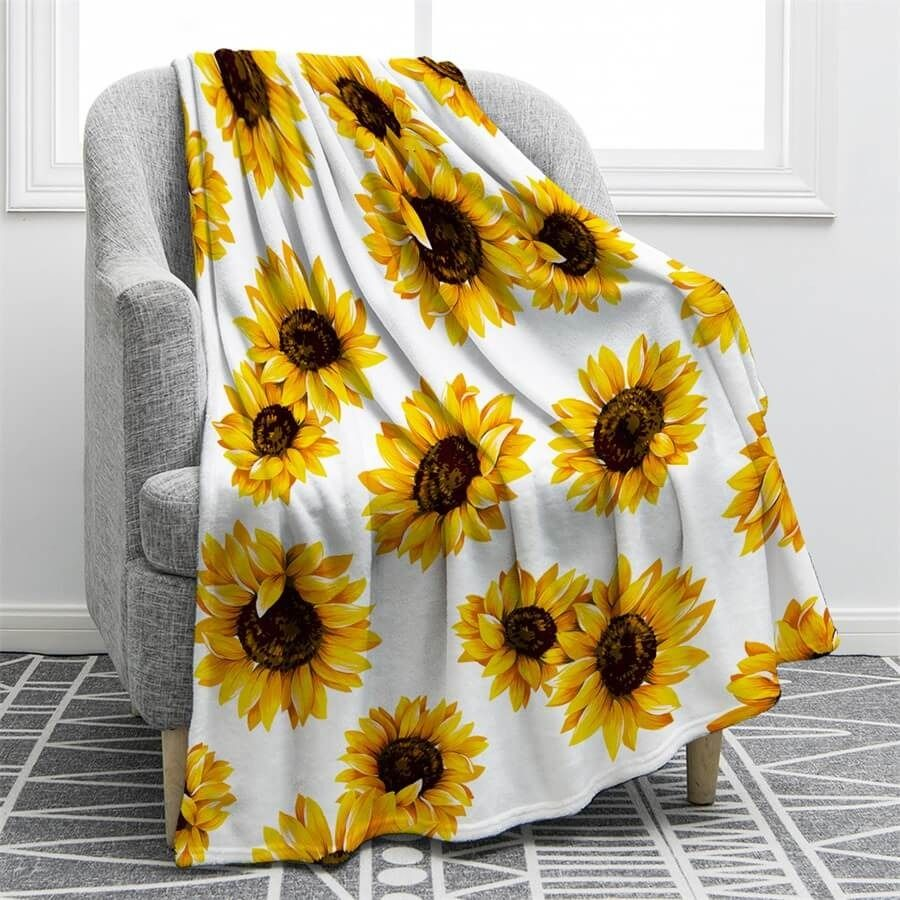 Sunflower Throw Fleece Blanket cozy lightweight sofa Blanket