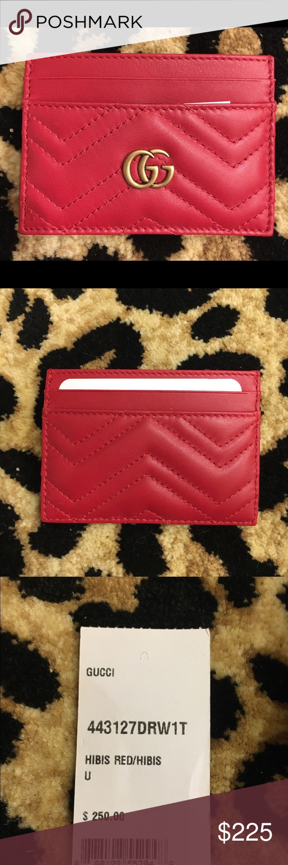 c24152e1d17 GG Marmont card case made in matelassé leather with a chevron design and GG  on the back. Bright red. Gucci Accessories Key   Card Holders