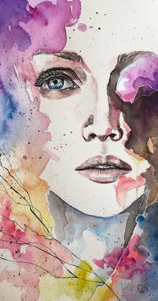 Rostro de mujer en acuarela  rostros en acuarela  Pinterest