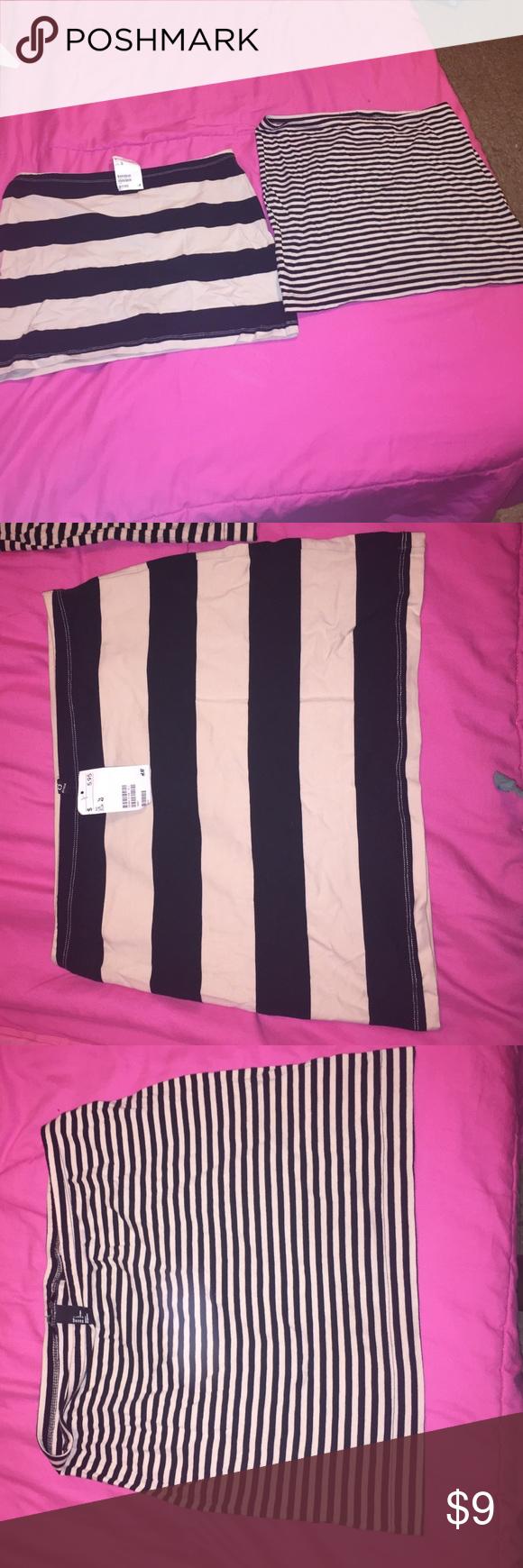 Stripe Mini Skirt Bundle NWT. H&M Stripe black and cream mini skirts. NEVER WORN. One Skirt is a large the other Skirt is a size 12. H&M Skirts Mini