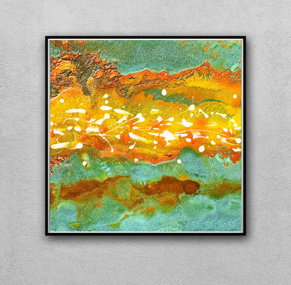 Items Similar To Teal Purple Abstract Flowers Wall Decor: #Abstract #Art #Print, #Watercolor Print #Mustard #Yellow