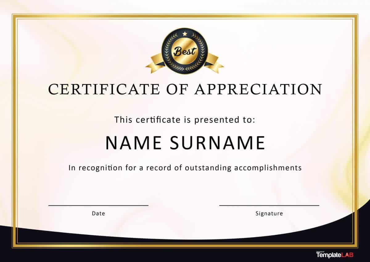 Certificate Of Appreciation Design Template Free Download