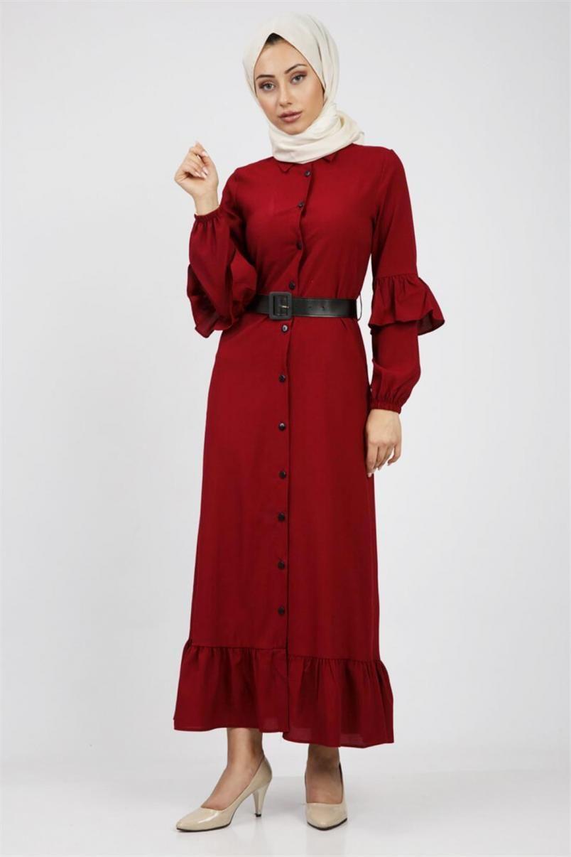 Firfirli Boydan Tesettur Elbise Kirmizi Elbise Moda Stilleri The Dress