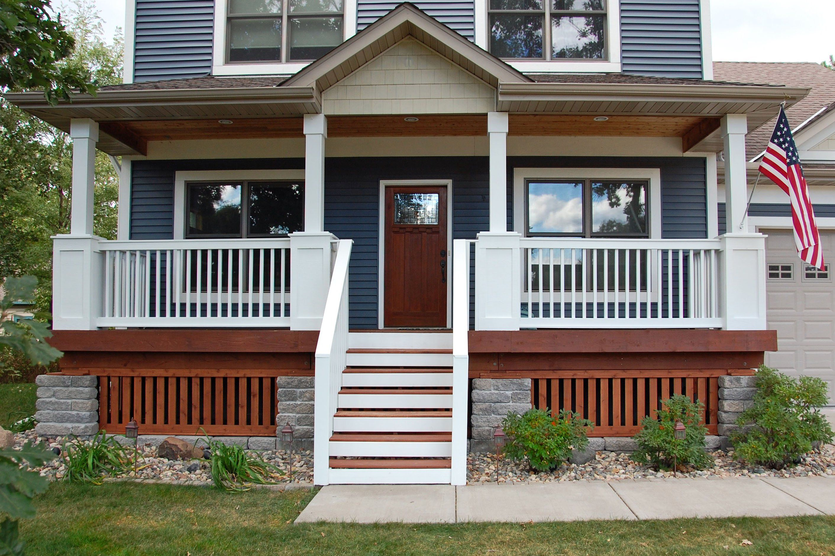 Marvelous White Wood Paint Exterior Part - 10: Exterior. Brown Wooden Porch With White Wooden Railing Also Wooden Stair  Plus White Pillar With