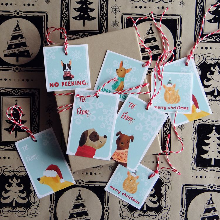 Dachshund Dog Christmas Gift Tags Present Favor Labels