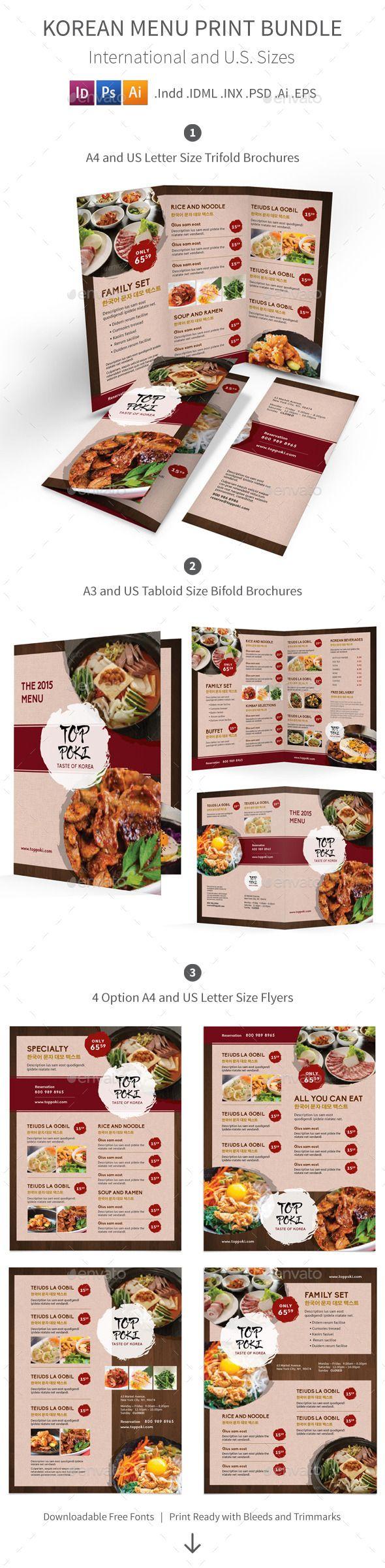 Korean Restaurant Menu Print Bundle  Menu Print Templates And