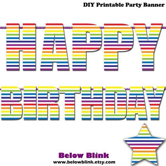 Rainbow Happy Birthday Letter Banner, Photo Prop Printable Banner