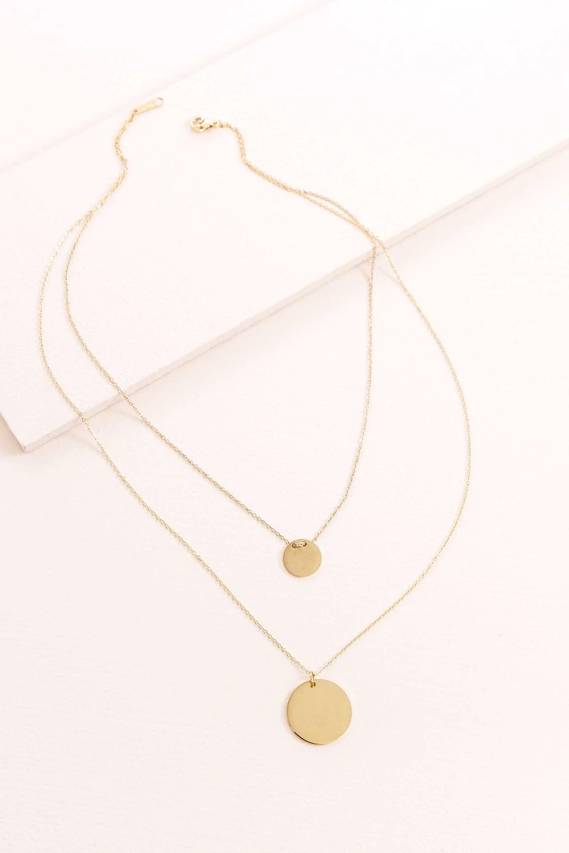 Collars Discover Double Up Layered Necklace 14k Minimal Necklace Minimalist Jewelry Generation Necklace Gold Circle Necklace
