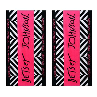Betsey Johnson Beach Towel Set Of 2 Pink Black 39 Compare At