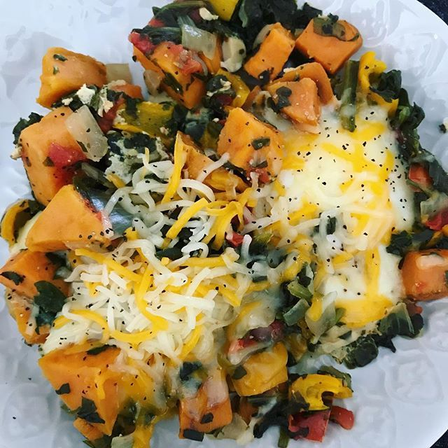 Lunch: 2 eggs in a pile of veggies with 1 Tbs cheese on each. #fitafter40 #fitover40females #fitover40 #fitnessfood #eggsforlunch #weightlossfood #weightlossmission