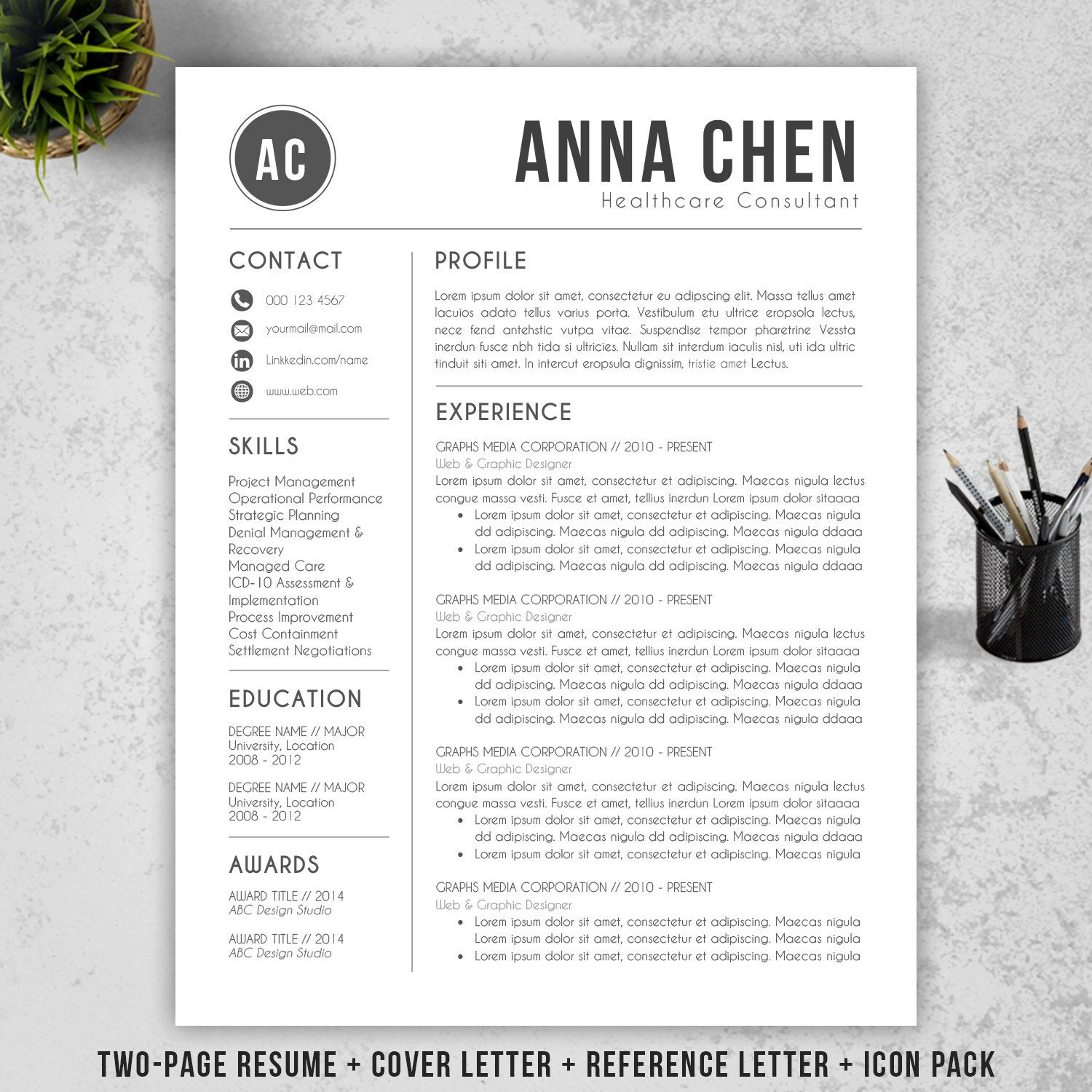 Resume Template | CV Template + Cover Letter for MS Word ...
