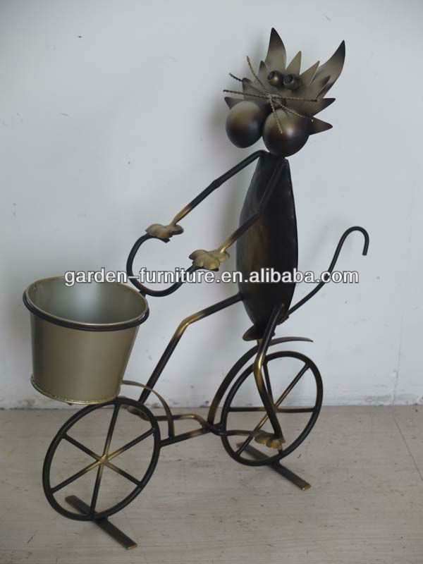 Wholesale Handmade Craft Garden Patio Decor Wrought Iron Bicycle Metal Flower Plant Stand Pot Holder Bicycles Metal Plant Hangers Metal Flowers Patio Decor