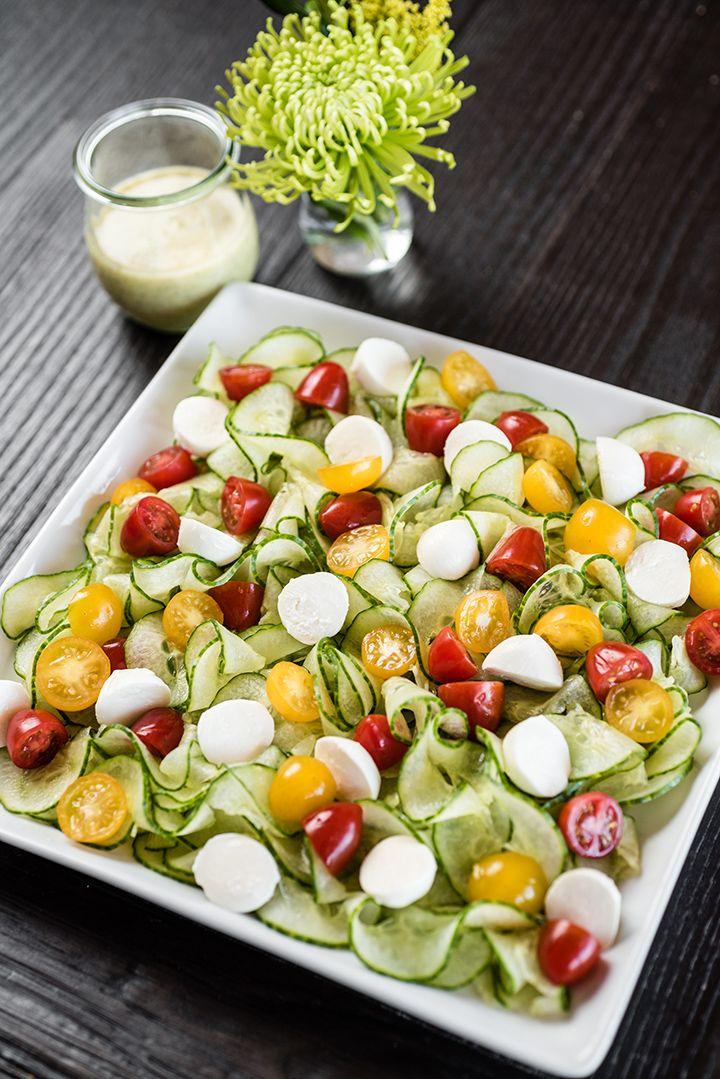 Spiralizer Cucumber Caprese Salad