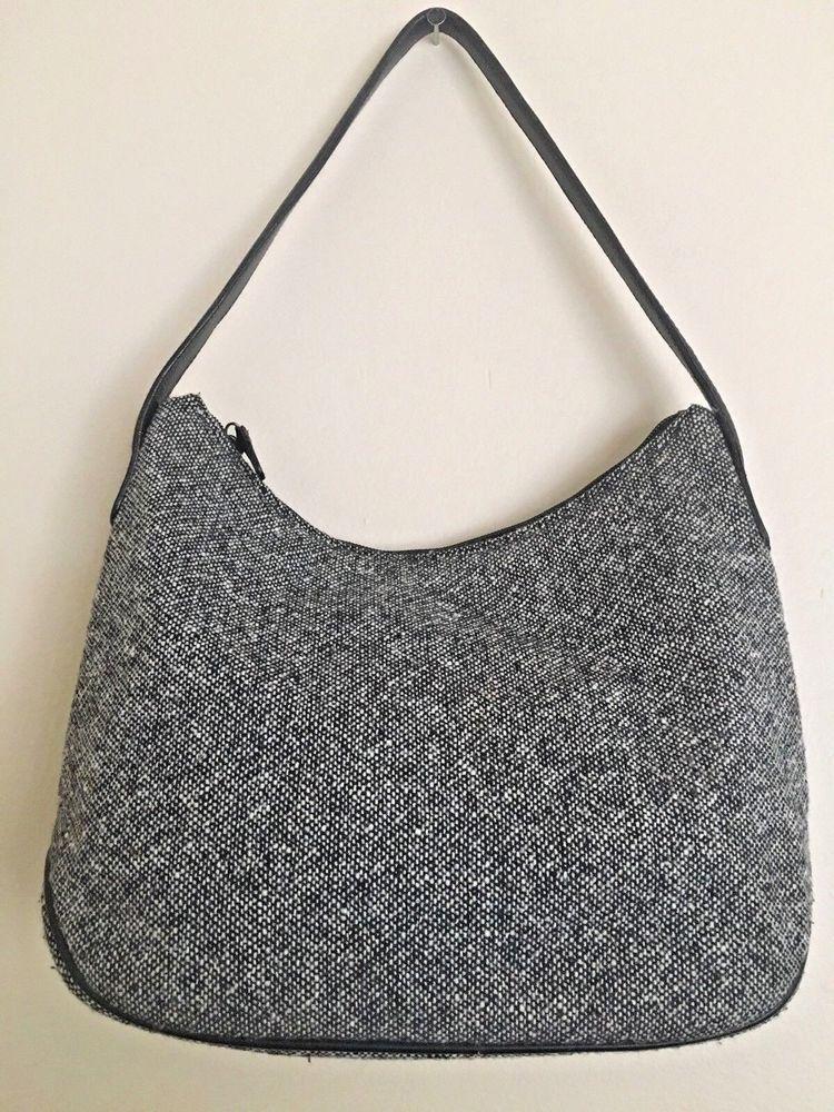 Talbots Handbag Black White Tweed Hobo Bag Purse Hobobags