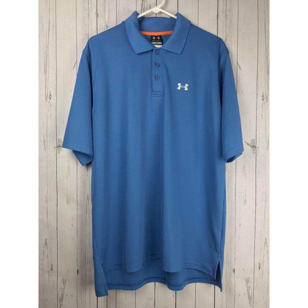 Under Armour Blue Golf Polo Shirt Mens Large Loose Fit Fashion