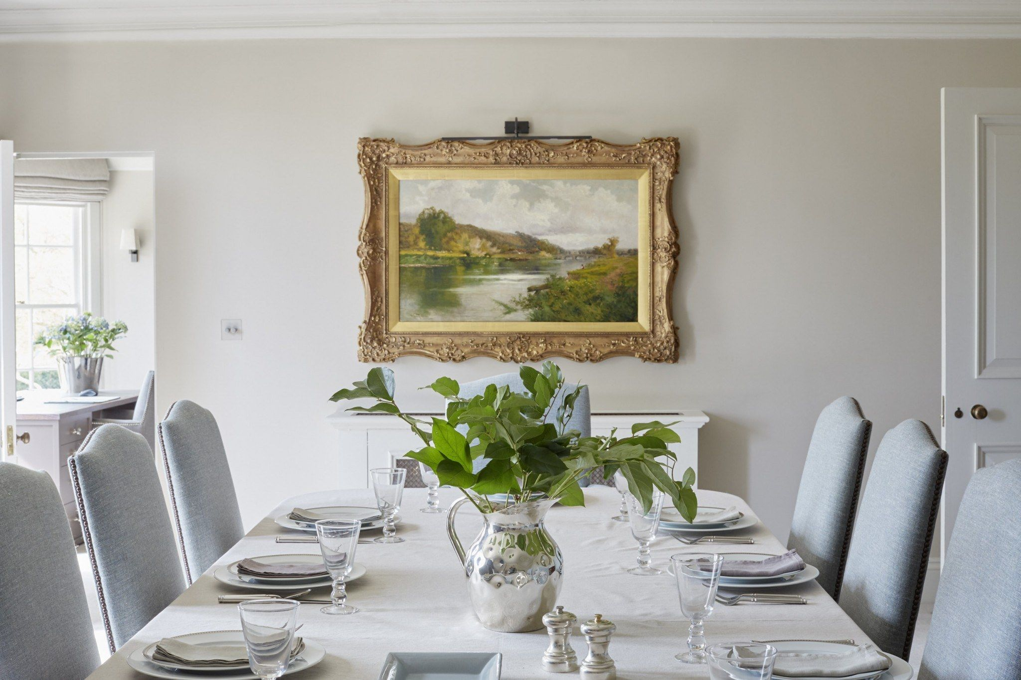 light formal dining room with a white and light blue scheme centred rh pinterest com