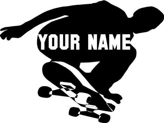 Skateboard Personalized Wall Vinyl Letter Decal by astickyplace