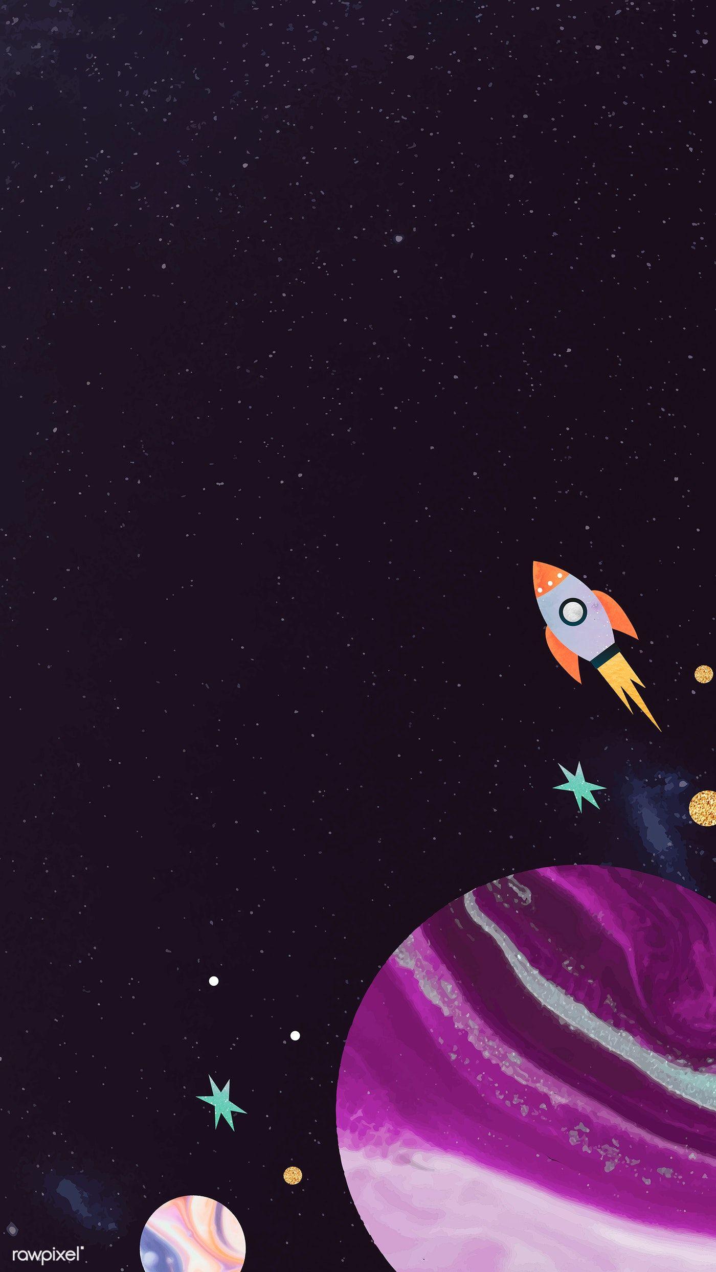 Download Premium Vector Of Colorful Galaxy Watercolor Doodle With A Rocket Watercolor Galaxy Cartoon Wallpaper Space Watercolor